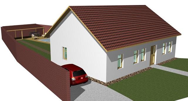 Vizualizace domu, pohled zleva
