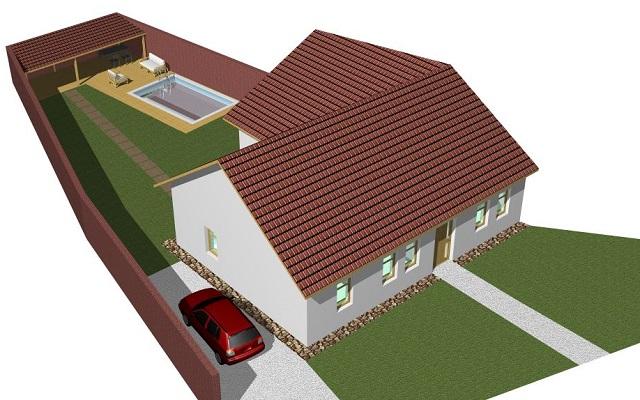 Vizualizace domu zleva zhora