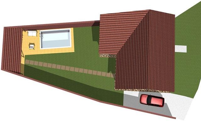 Vizualizace domu, pohled zhora